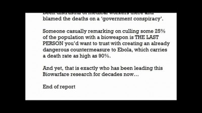 Scientist Working on Govt Ebola Drug Joked about Culling Population with GMO Virus mp4